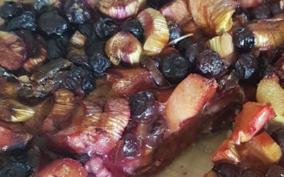 Rhabarber-Heidelbeer-Kuchen